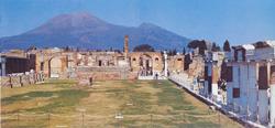 The Forum of Pompeii with Vesuvius in the background